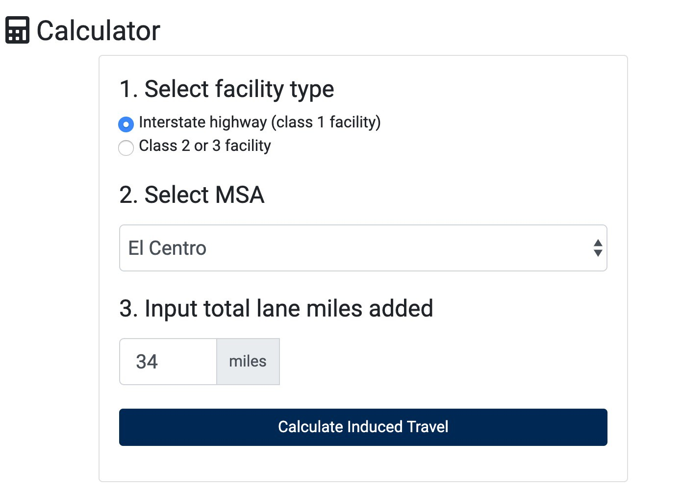 California Induced Travel Calculator